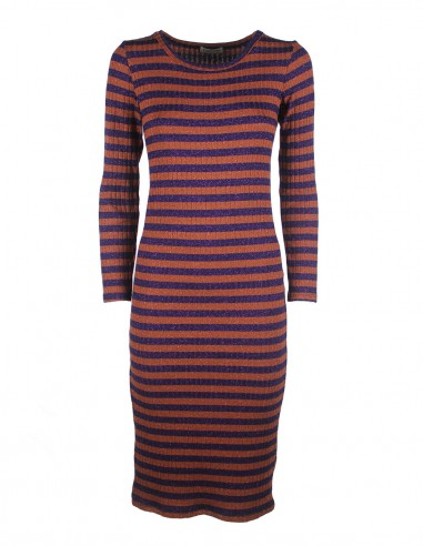 Striped dress in lurex