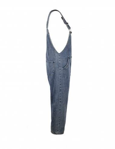 Cropped washed-up denim jumpsuit
