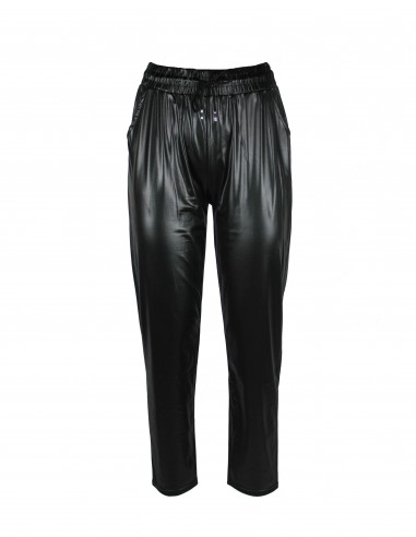 Light eco-leather trousers